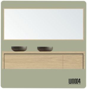 LIV badkamermeubel 140 dubbele lade rechts