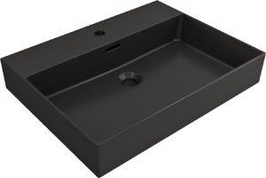 wastafel porselein zwart mat